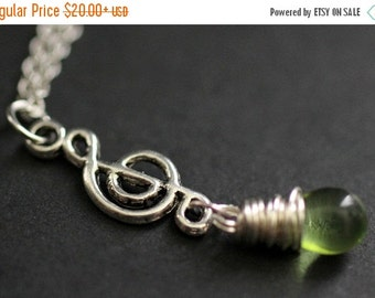 BACK to SCHOOL SALE Treble Clef Necklace. Music Necklace. Green Teardrop Necklace. Musical Note Necklace in Silver. Handmade Jewelry.