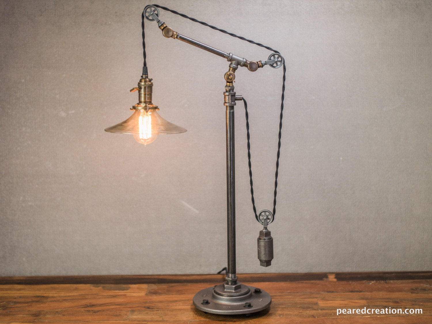Industrial Light Pulley Lamp Table Lamp By Newwineoldbottles