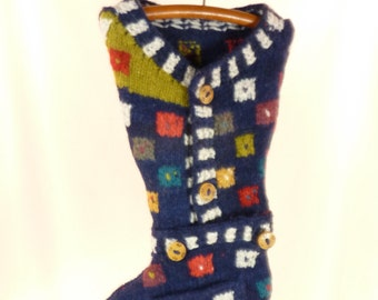 Christmas Stocking Felt Felted Wool Ecuador Hand Knit OOAK Galapagos Islands Ethnic Folk Hearts Navy Blue Patterned Recycled Repurposed 692