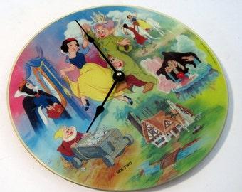 Snow White and the 7 Dwarfs - RARE Vinyl Record Album CLOCK - Picture Disc Vinyl LP