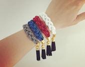 Nautical silken Bracelet - Leather Tassels - Chunky Rope Bracelet