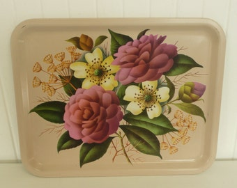 1940s Metal Tray, Floral Display Lithograph, Serving Snack Tray, Home and Travel Trailer Decor
