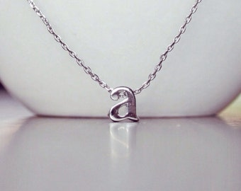 Lowercase Letter Necklace // a - Small Initial Charm