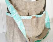 CUSTOM LISTING  mint floral fabric and linen diaper bag