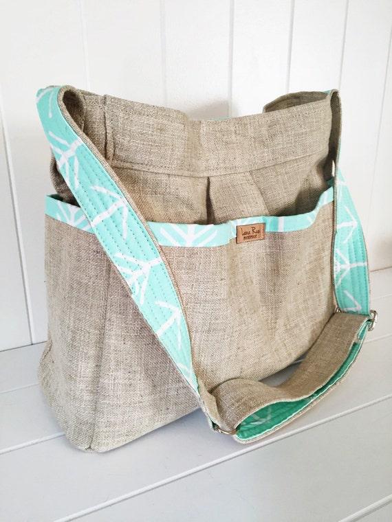 linen and mint arrow girl or boy diaper bag. Black Bedroom Furniture Sets. Home Design Ideas