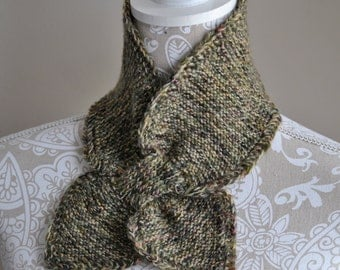 Green Brown Peach Knitted CrissCross Neck warmer, Leaf scarf,  Keyhole Style Neck Warmer, Loop through Cashmere Scarf