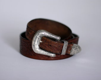 vintage otto f. ernst tooled leather belt with don ricardo silver buckle 1940's