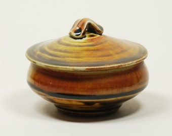 Amber glazed porcelain salt-fired sugar bowl
