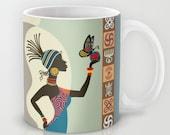 African Woman Coffee Mug, Afrocentric Mug, Afrocentric Gift, African Mug, African Gift, African American Art, African Woman Gift Idea