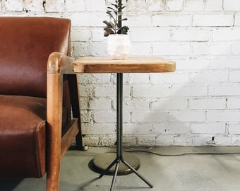 READY TO SHIP- Industrial Reclaimed Wood Side Table Plant Stand