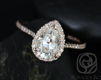 DIAMOND FREE Tabitha 9x6mm 14kt Rose Gold Pear F1- Moissanite and White Sapphires Halo Engagement Ring (Other options available)