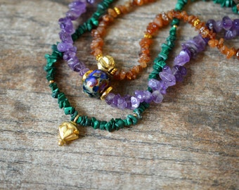 Multi layer gemstone nugget necklace Green malachite Purple amethyst Hessonite garnet semi precious rough gemstone necklace Stone jewelry