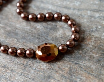 Brown simulated pearl necklace Chunky bronze metallic crystal Short single strand beaded necklace