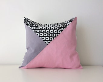 "Geometric Pillow Covers, 15x15"", Color Block, Modern Decor, Pink, Black, White, Grey, Triangle, Pattern Block, Rose Quartz, Pantone,"