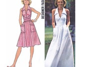 "1976 Halter Dress, Maxi/Knee Length, Wing Collar, Top Stitch Trim Bodice, Patch Pockets, Full Flared Skirt, Simplicity 7431, Bust 36"", Uncut"