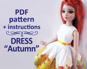 PDF pattern Dress Autumn for MSD 16 inches doll Ellowyne Wilde, MiniFee