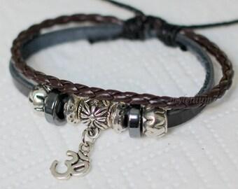 100 Men bracelet Women bracelet Leather bracelet Om bracelet Charm bracelet Hindu bracelet Religion bracelet Fashion bracelet