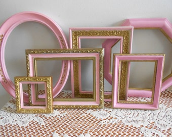 Open ornate 6  frames , Baroque frames, hand painted upcycled pink with gold