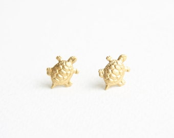 Little Turtle Stud Earrings made with Golden Brass Stampings
