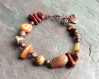 "Mixed Stone Bracelet / One-of-a-Kind / Beads / Jasper / Agate / Burgundy / Brick / Antique Copper / Chunky / Flower - 7 3/4"" long - B10"
