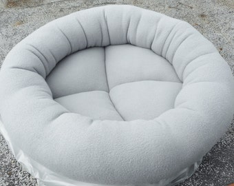 Dog bed, cat bed, donut bed, machine washable, gray bed, pet bed, kitty bed, round cat bed, fleece pet bed, cat beds, pet beds, grey beds