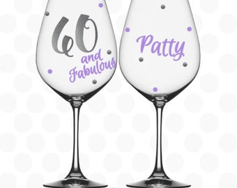60 and fabulous - 60th birthday gifts for women - 60th birthday party favors - 60th birthday gift for mom - 60th birthday glass