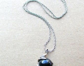 SALE Black Onyx Elf Necklace - Sterling Silver Elf Necklace