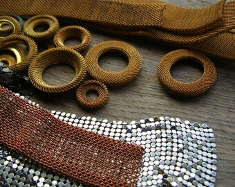 Scrap Mesh Lot - Brass Mesh - Steampunk Supplies - Vintage Mesh lot