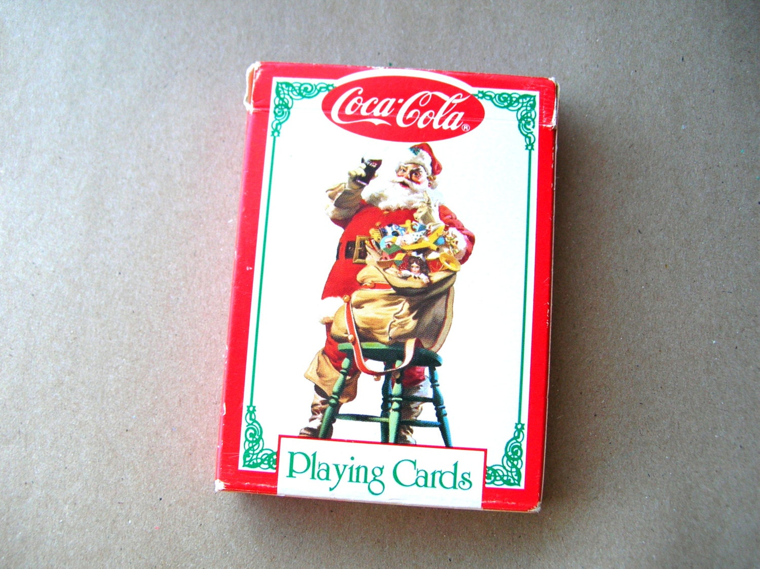 vintage santa playing cards full deck coca cola cards. Black Bedroom Furniture Sets. Home Design Ideas