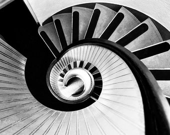 Black and White Print | Architecture Art | Architectural Print | Spiral Stairs | Large Wall Art | Photo Gift For Him | San Diego Wall Art