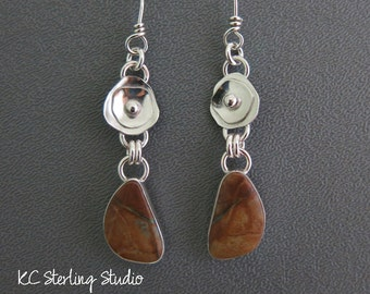 Royston turquoise and sterling silver handmade dangle earrings - metalsmith silversmith