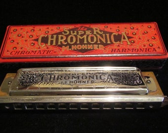 Mid to Late 1930s M. Hohner Super Chromonica Model 270 Key of C Harmonica with Original Wood Box Made in Germany Excellent Condition