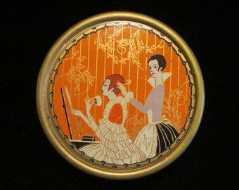 Vintage 1920s Richard Hudnut Three Flowers Dusting Powder Tin Art Deco Tin Empty Tin Made in USA Very Good to Excellent Condition