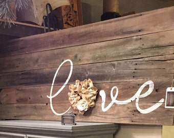 Reclaimed wood love sign with heart rustic handmade sign