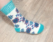 Women's Knitted Warm Soft Thick Socks Merino Wool With Ornament