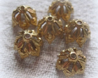 Filigree, Brass, 9MM,Fits 8mm to 12mm, bead, Bead Cap, Victorian Style,  Lace,
