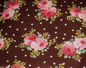 Roses Japanese Cotton Fabric, Brown Cotton fabric, Floral Fabric, Brown Polka Dots Cotton Fabric, Vintage Style Fabric, Pink Roses