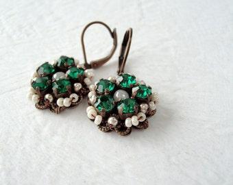 Emerald Green Earrings. May Birthstone Jewelry. Classic Rhinestone Earrings. Green Jewelry. Rhinestone Jewelry. Emerald Green Jewelry