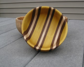 Hand Turned Utility Bowl Made From Yellowheart , Maple  And Walnut
