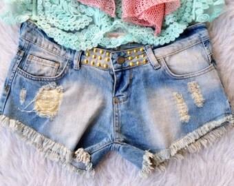 Cut Off Denim Shorts, Grunge Shorts, Distressed Denim Shorts