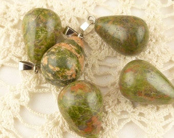 Forest Green Teardrop Pendant Natural Stone, Dark Green with Bail