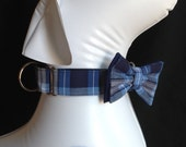 """Martingale Dog Collar Bow Tie Set 1"""" And 1.5 Width - Blue Plaid - Size S, M,  L, XL"""