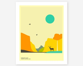 YOSEMITE NATIONAL PARK, Colorful, Minimal Wall art for the home decor, Giclée Fine Art Print