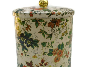 vintage Daher floral tin with a round knob, nice shabby cottage decor or organizer