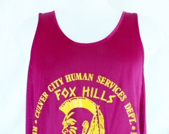 go Fox hills Warriors vintage 70's 80's Culver City Human Services Recreation & Leisure wine red mesh basketball jersey tank top Large