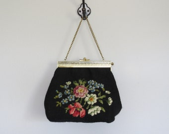 50s needlepoint purse / vintage carpet bag / vintage needlepoint bag