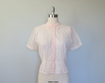 50s sheer pink nylon blouse size medium - large / vintage nylon blouse / 50s sheer blouse