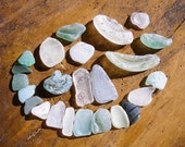 Sea Glass Mix , Mosaic /Craft /Mixed Media Project Supplies,Large Sea Glass, Bottle Bottom Partials,Frosted White/Green/Sea Foam Blue
