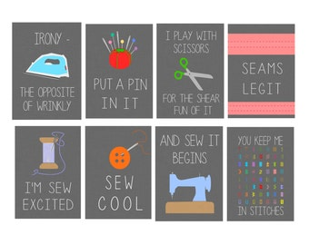 8x10 Set of Eight Dark Grey Funny Sewing Digital Art Prints; FACS Classroom, Sewing Room, Craft Room