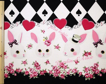Rabbits and Cards Design Fabric Black Cotton Kobayashi Japanese Fabric- 110cm x 50cm